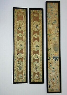 3 Antique CHINESE EMBROIDERED PANELS One Pair & A Single 19th Century