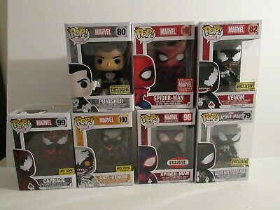 7 Funko Pop Marvel Exclusive! Punisher Black Spiderman Carnage Anti  Venom