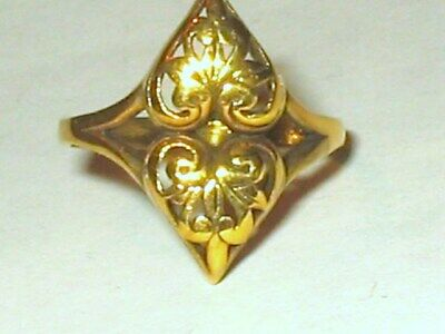Antique Gold Plate Sterling Silver Scroll Work Hearts Ring 2.2g Sz 6.5