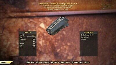 Fallout 76 (PS4) RARE! Powered Sentinel Assassin Matching BOS Combat Armor Arms