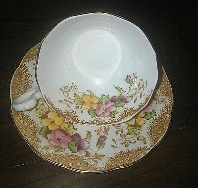 Royal Albert 7726 Pink and Yellow Flowers Crown China Tea Cup and Saucer ca 1935