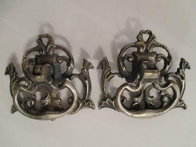 2 - Antique Victorian Ornate Nickel Over Brass Drop Handle Drawer Pulls