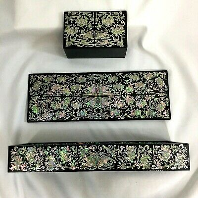 Korean Mother of Pearl Inlaid Lacquered Letter Desk Box and Letter Holder