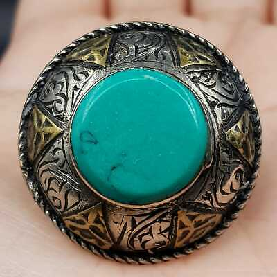 Usmani old turquoise stone beautiful silver ring #6