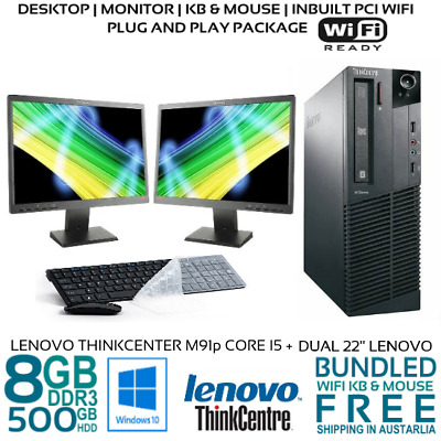 "Lenovo Computer Package M91P CORE i5 8GB 500G 22"" LCD DVDRW Win10 KB MOUSE WifI"