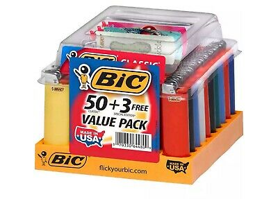 BIC Classic Maxi Lighters - 50 Count. Plus 3 Free Lighters. New