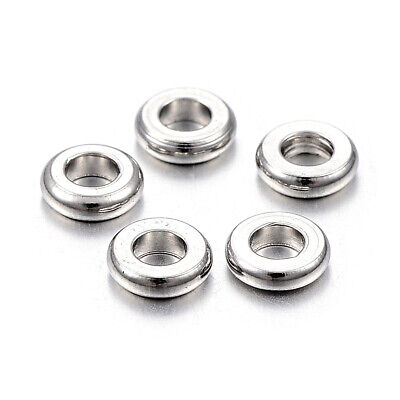 100pcs 304 Stainless Steel Flat Disc Metal Beads Smooth Spacers 4mm 6mm 8mm 10mm