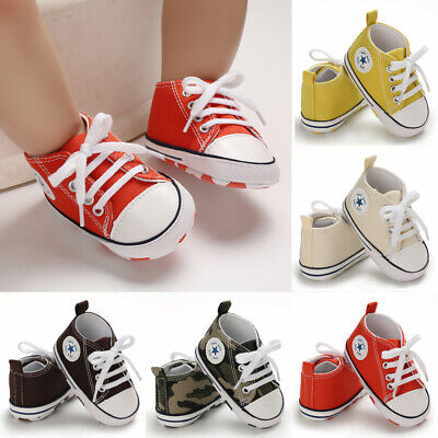 Cute Toddler Kids Canvas Sneakers Baby Boy Girls Soft Sole Crib Shoes Prewalkers