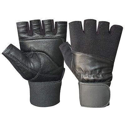 GYM fitness body building weight lifting training workout leather gloves 112