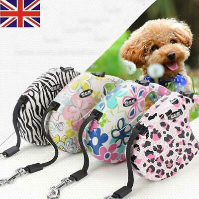 UK 5M Small Dog Retractable Extending Pet Leashes Dog Collars Walking Dog Lead
