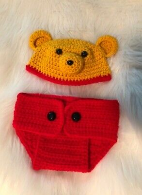 NWOT- Winnie The Pooh- Crochet Boys 2 Piece Photo Prop- See Pics- So Cute!