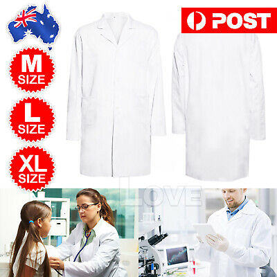 White Lab Coat Medical Doctor Coats Jackets Nursing For Women Men AU New