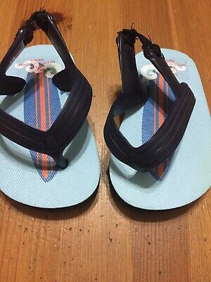 Baby Boys Old Navy Blue Surfboard Strap Flip Flops Size 3-6 Months Small