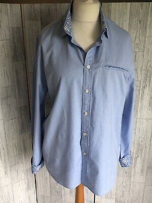 "Boden Mens Light Blue Cotton Shirt With Contrast Floral Cuffs L C46"" Immaculate"