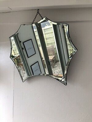 Vintage Mirror art deco beveled edged frameless Pointy mirror with Hanging chain