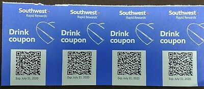 Four (4) Southwest Airlines Drink Coupons EXP July 31, 2019