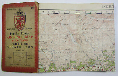 1946 old OS Ordnance Survey Popular Edition one-inch map 63 Perth & Strath Earn