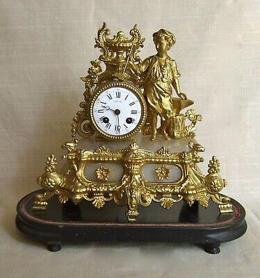 FINE ANTIQUE  FRENCH MANTLE CLOCK AND STAND 19th CENTURY ALL IN GOOD CONDITION