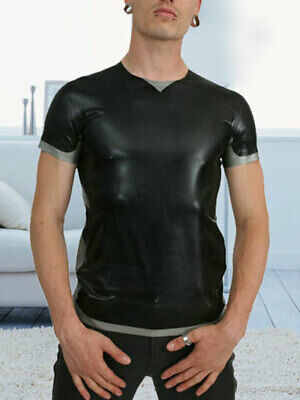Latex Herren Short Slevees Schwarz and Smoke Gray T-Shirt mit V-Ausschnitt S-XXL