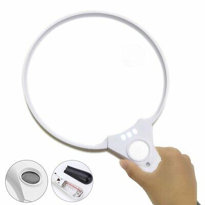 25X Extra Large Handheld Reading Magnifier Magnifying Glass With 3 LED Lights