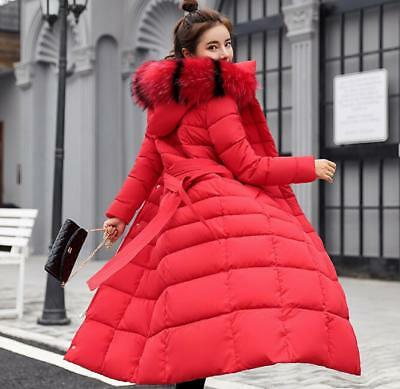 Womens Ladies Quilted Winter Coat Puffer Fur Collar Hooded Long Parka Jacket UK