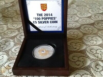"""Collectable Rare 2014 Jersey  Silver Proof £5 """"100 Poppies"""""""