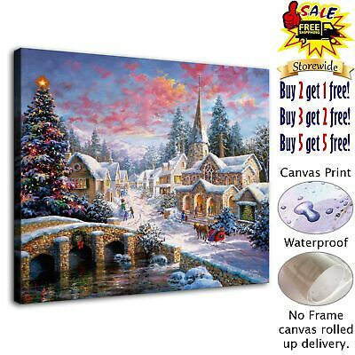 "Christmas landscape HD Canvas Print Painting Home Decor Room Wall Art 12""x14"""