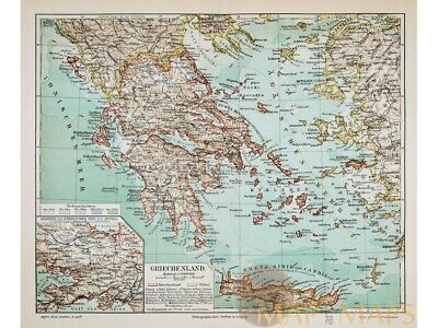 Griechenland. Antique Map of Old Greece Meyer 1905