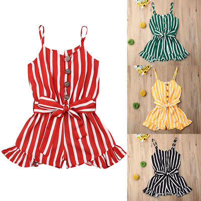 US Summer Toddler Baby Kids Girls Stripe Romper Bodysuit Jumpsuit Outfit Clothes