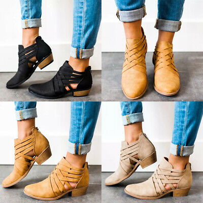 Women Ladies Strappy Ankle Boots Low Block Heels Zip Up Booties Shoes Size 3-6.5