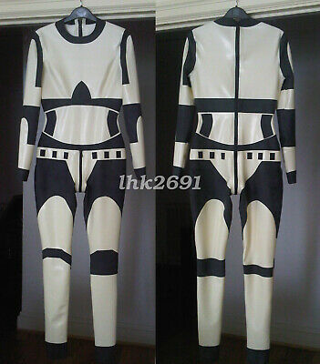 Sports style Latex Rubber White&Black Zipper Full Catsuit Overall Bodysuit S-XXL