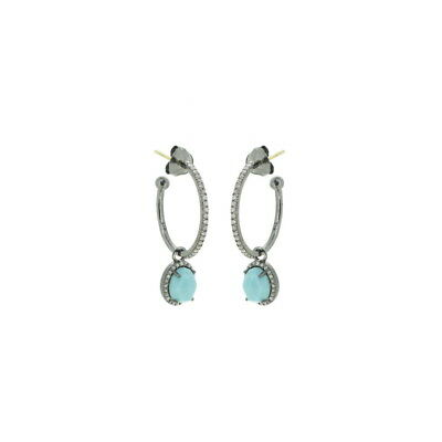 Pave Diamond 2.48cts Turquoise 925 Silver 14k Gold Charm Hoop Earrings Jewelry