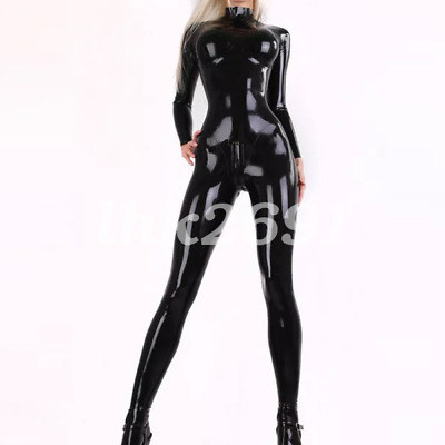 100% Latex Rubber Women Schwarz Catsuit Fashion Party Gummi Bodysuit S-XXL