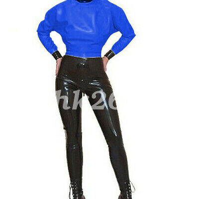 100% Latex uniform Navy Blau Top Schwarz pants Handsome Puff Sleeve suit S-XXL