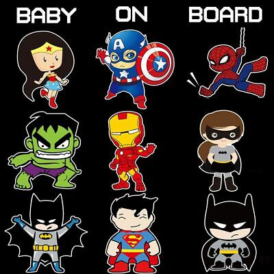 Baby On Board Superhero Sticker Sign Car Decoration Decal Kids Adhesive Cute