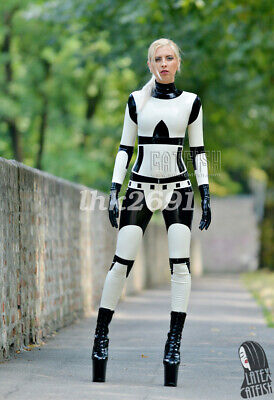 Sports 2019New style Latex Rubber White&Black Zipper Full Catsuit size S-XXL