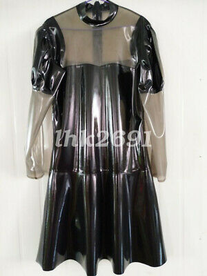 100% Latex Rubber Pure Schwarz Transparent Black Dress Loose kleid S-XXL