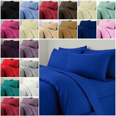 Plain Dyed Duvet Quilt Cover Pillowcases Bedding Sets Single Double King S King
