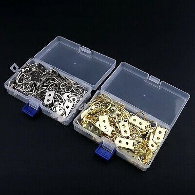 50 Pcs Brass Heavy Duty D Ring Hangers Nail Frame Hooks Hanging with Screws Kit