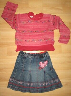 ESPRIT jupe en jean, CLAYEUX pull rose - Taille 4 ans - TBE !!!