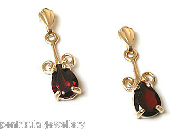 9ct Gold Garnet Drop Dangly Ornate Earrings Made in UK Gift Boxed