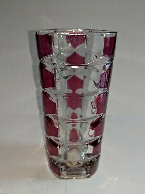 Pretty Ruby Red Cut Glass Vase Cranberry In Lovely Condition France 16