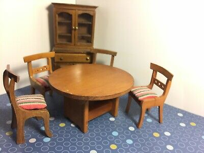 Dollhouse Furniture Lot 6 1:12 Mid Century Wood Dining Table Chairs Hutch DH1F