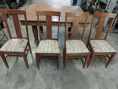 Used Antique Solid Oak Table w/4 T back chairs, 1 leaf. Some scratches