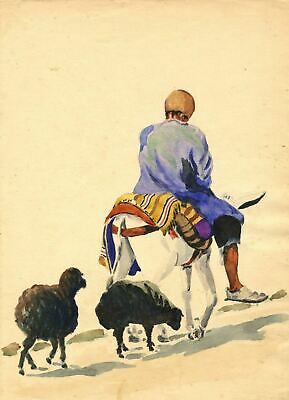 P.B. Elwell, Man Riding Mule with Sheep, Iran - 1947 watercolour painting