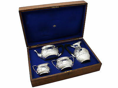 Sterling Silver Four Piece Tea and Coffee Set - Boxed - Antique Victorian 1671g