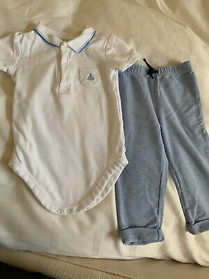 Boys JANIE & JACK Diaper Shirt & Pants 12-18M  Pale Blue White Sailboat Set Polo
