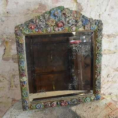 Antique Vintage Hand Made Hand Painted Table Mirror Wall Moulded Flowers Gilt
