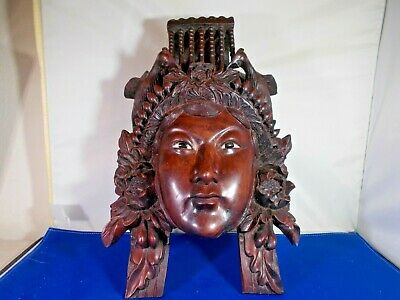 Vintage Chinese empress carved rosewood & bone collectible decorative mask