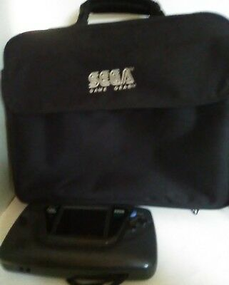 Black Sega Game Gear Handheld Console System and Case PARTS OR REPAIR ONLY
